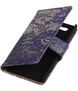 Hoesje voor Sony Xperia Z4 Compact Lace Kant Bookstyle Wallet Blauw