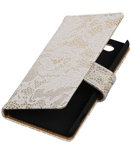 Hoesje voor Sony Xperia Z4 Compact Lace Kant Bookstyle Wallet Wit