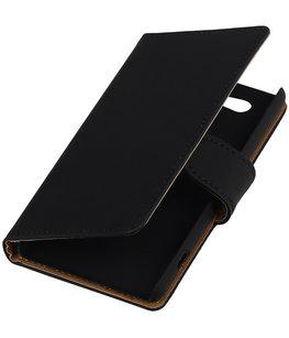 Hoesje voor Sony Xperia Z4 Compact Effen Bookstyle Wallet Zwart