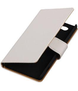 Hoesje voor Sony Xperia Z4 Compact Effen Bookstyle Wallet Wit
