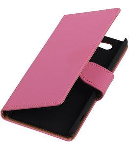 Hoesje voor Sony Xperia Z4 Compact Effen Bookstyle Wallet Roze