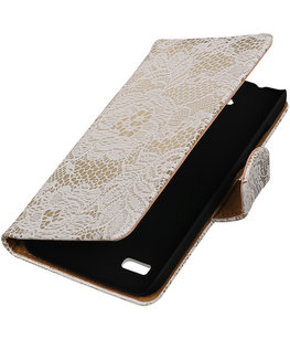Wit Lace Booktype Hoesje voor Huawei Y560 / Y5 Wallet Cover