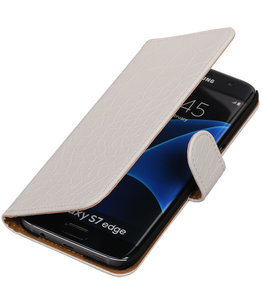 Wit Krokodil Booktype Hoesje voor Samsung Galaxy S7 Edge Wallet Cover