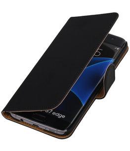 Zwart Effen Booktype Hoesje voor Samsung Galaxy S7 Edge Wallet Cover