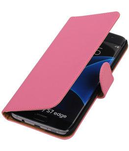 Roze Effen Booktype Hoesje voor Samsung Galaxy S7 Edge Wallet Cover