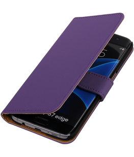 Paars Effen Booktype Hoesje voor Samsung Galaxy S7 Edge Wallet Cover