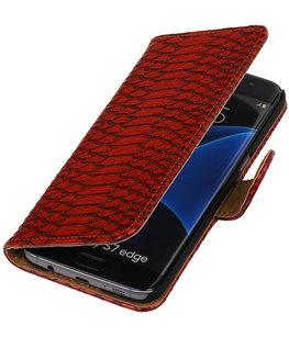 Rood Slang Booktype Hoesje voor Samsung Galaxy S7 Edge Wallet Cover