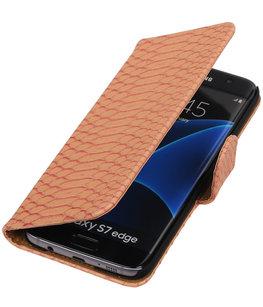 Roze Slang Booktype Hoesje voor Samsung Galaxy S7 Edge Wallet Cover