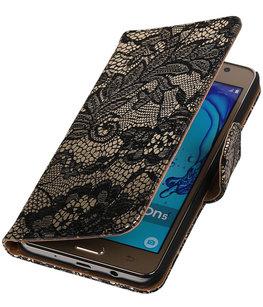 Hoesje voor Samsung Galaxy On5 - Lace Zwart Booktype Wallet