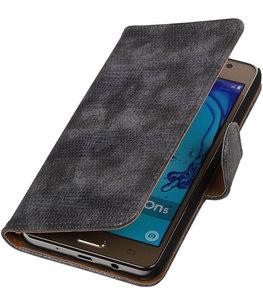Hoesje voor Samsung Galaxy On5 - Mini Slang Grijs Booktype Wallet