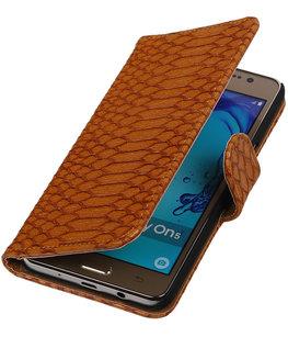 Hoesje voor Samsung Galaxy On5 - Slang Bruin Booktype Wallet