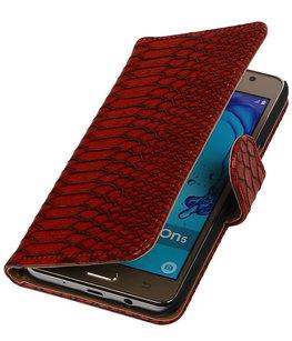 Hoesje voor Samsung Galaxy On5 - Slang Rood Booktype Wallet