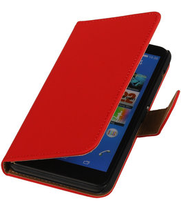 Rood Effen Booktype Hoesje voor Sony Xperia E C1605 Wallet Cover