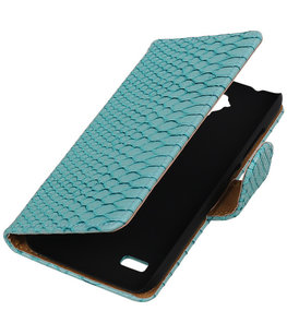 Turquoise Slang Booktype Hoesje voor Samsung Galaxy Young 2 G130 Wallet Cover