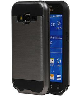 Grijs Bestcases Tough Armor TPU Back Cover Hoesje voor Samsung Galaxy Core Prime