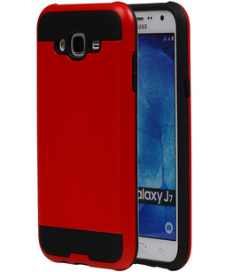 Rood BestCases Tough Armor TPU back cover voor Hoesje voor Samsung Galaxy J7 2015