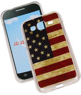 Amerikaanse Vlag TPU Cover Case voor Hoesje voor Samsung Galaxy J2 2015