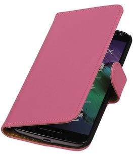 Roze Effen booktype cover voor Hoesje voor Motorola Moto X Style