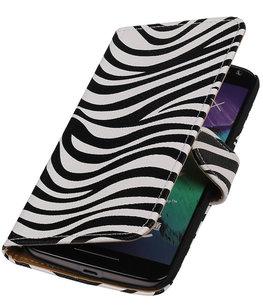 Zebra booktype cover voor Hoesje voor Motorola Moto X Style