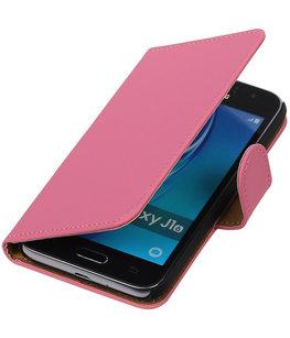 Roze Effen booktype cover voor Hoesje voor Samsung Galaxy J1 (2016)