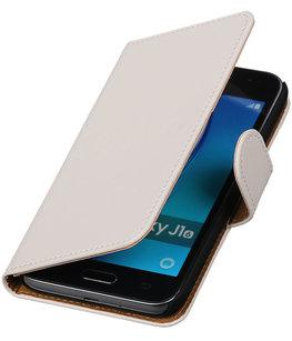 Wit Effen booktype cover voor Hoesje voor Samsung Galaxy J1 (2016)