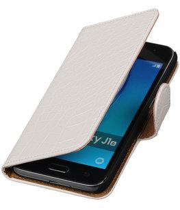 Wit Krokodil booktype cover voor Hoesje voor Samsung Galaxy J1 (2016)