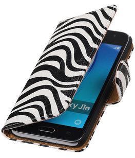Zebra booktype cover voor Hoesje voor Samsung Galaxy J1 (2016)