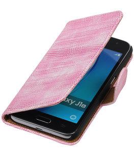 Roze Mini Slang booktype cover voor Hoesje voor Samsung Galaxy J1 (2016)