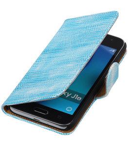 Turquoise Mini Slang booktype cover voor Hoesje voor Samsung Galaxy J1 (2016)