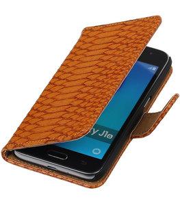 Bruin Slang booktype cover voor Hoesje voor Samsung Galaxy J1 (2016)