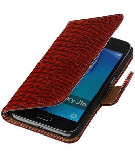 Rood Slang booktype cover voor Hoesje voor Samsung Galaxy J1 (2016)