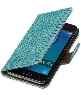 Turquoise Slang booktype cover voor Hoesje voor Samsung Galaxy J1 (2016)