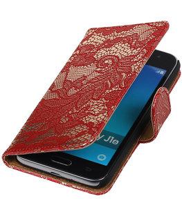 Rood Lace booktype cover voor Hoesje voor Samsung Galaxy J1 (2016)