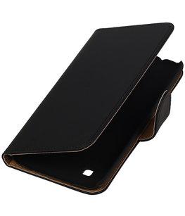 Zwart Effen booktype cover voor Hoesje voor LG K7