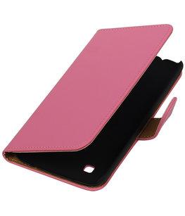 Roze Effen booktype cover voor Hoesje voor LG K7