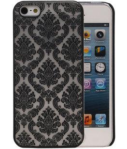 Hoesje voor Apple iPhone 5/5S - Brocant Hardcase Zwart