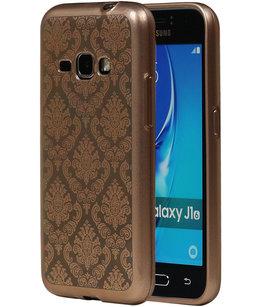 Goud Brocant TPU back case cover voor Hoesje voor Samsung Galaxy J1 (2016)