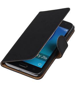 Zwart Effen booktype cover voor Hoesje voor Samsung Galaxy J1 Nxt / J1 Mini