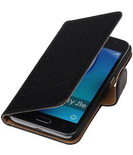 Zwart Krokodil booktype cover voor Hoesje voor Samsung Galaxy J1 Nxt / J1 Mini