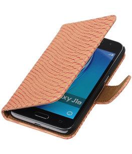 Roze Slang booktype cover voor Hoesje voor Samsung Galaxy J1 Nxt / J1 Mini