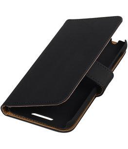Zwart Effen Hoesje voor HTC Desire 510 s Book/Wallet Case/Cover
