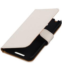 Wit Effen Hoesje voor HTC Desire 510 s Book/Wallet Case/Cover