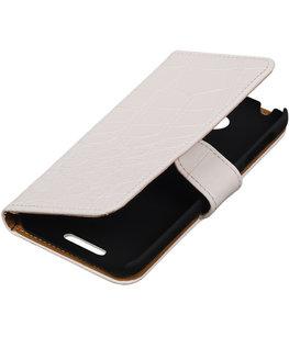 Wit Croco Hoesje voor HTC Desire 510 Book/Wallet Case/Cover