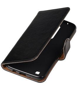 Zwart Pull-Up PU booktype wallet cover voor Hoesje voor LG K7