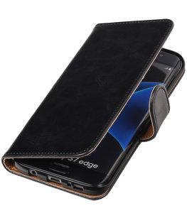 Zwart Pull-Up PU booktype wallet cover voor Hoesje voor Samsung Galaxy S7 Edge