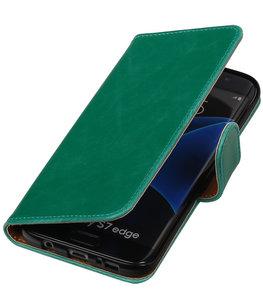 Groen Pull-Up PU booktype wallet cover voor Hoesje voor Samsung Galaxy S7 Edge