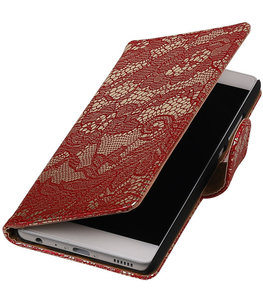 Rood Lace booktype cover voor Hoesje voor Sony Xperia X Performance