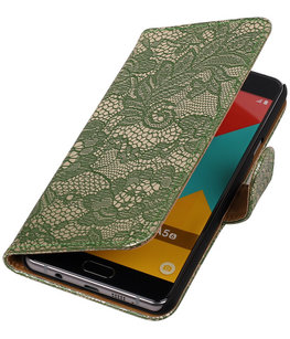 Donker Groen Lace booktype cover voor Hoesje voor Sony Xperia X Performance