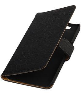 Hoesje voor Huawei Nexus 6P - Croco Zwart Booktype Wallet
