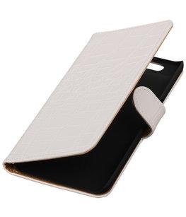 Hoesje voor Huawei Nexus 6P - Croco Wit Booktype Wallet